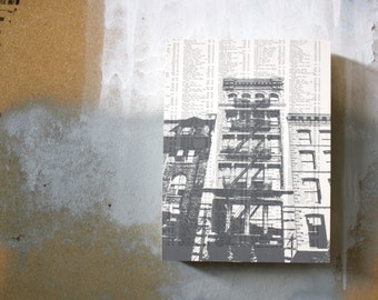 Manhattan Fire Escape Print - Modern Book Page Print - NYC Stairs - Grey NYC Print