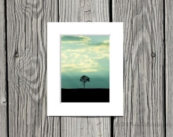 """Nature Photograph,  Landscape Picture, Modern Home Decor, Minimalist - 5x7 Inch Fine Art Print Matted to 8x10 inches - """"One Tree"""""""
