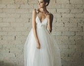 Deep V Neck Floor Length A Line Tiered Tulle Wedding Dress - Juliana by Ouma