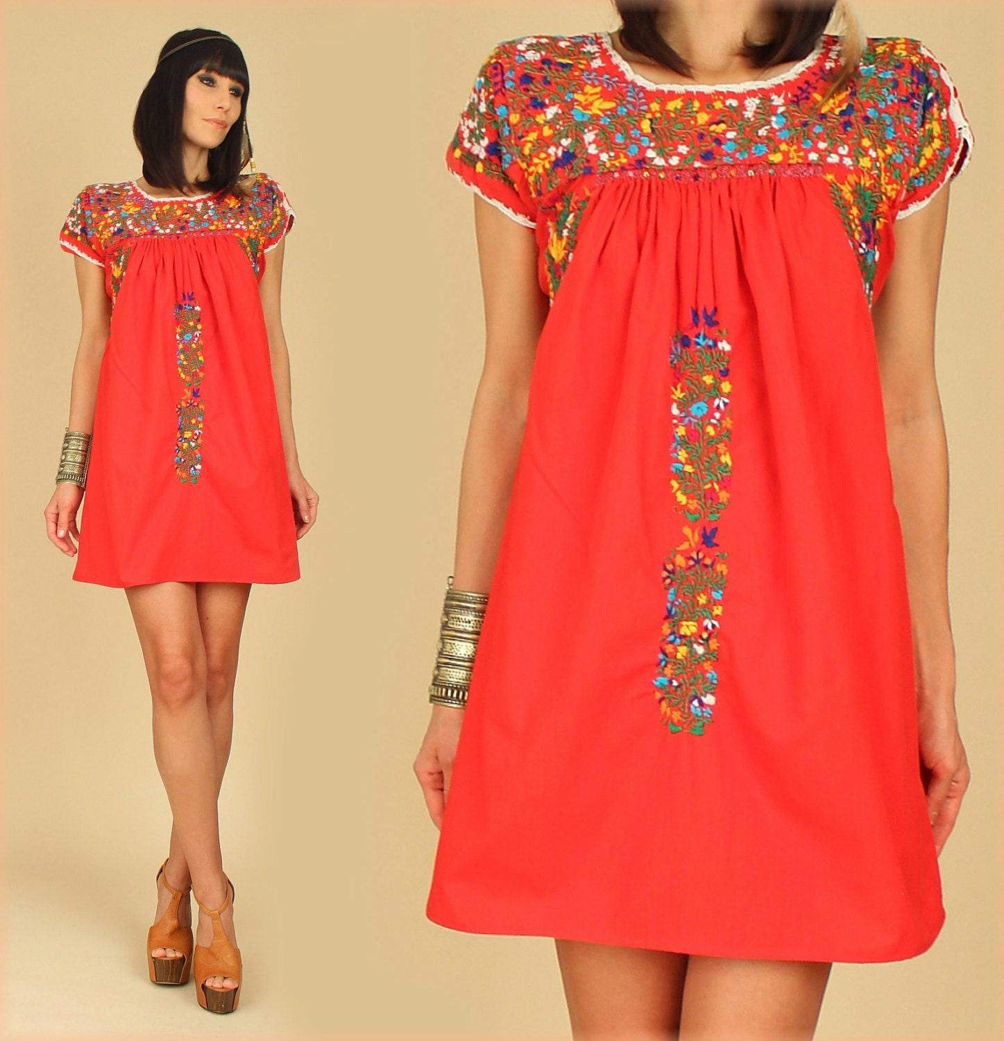 Vintage 70 S Oaxacan Mini Dress Red Cotton Boho Floral