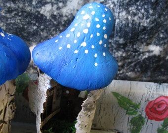Tooth Fairy Itty Bitty House With A Blue Mushroom Roof Made out of Birch Bark Great for Children Holiday Gift or Birthday Parties
