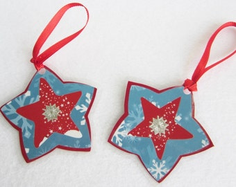 Paper Star Christmas Tree Ornaments, Blue and Red Stars, Paper Holiday Ornaments, Holiday Paper Craft