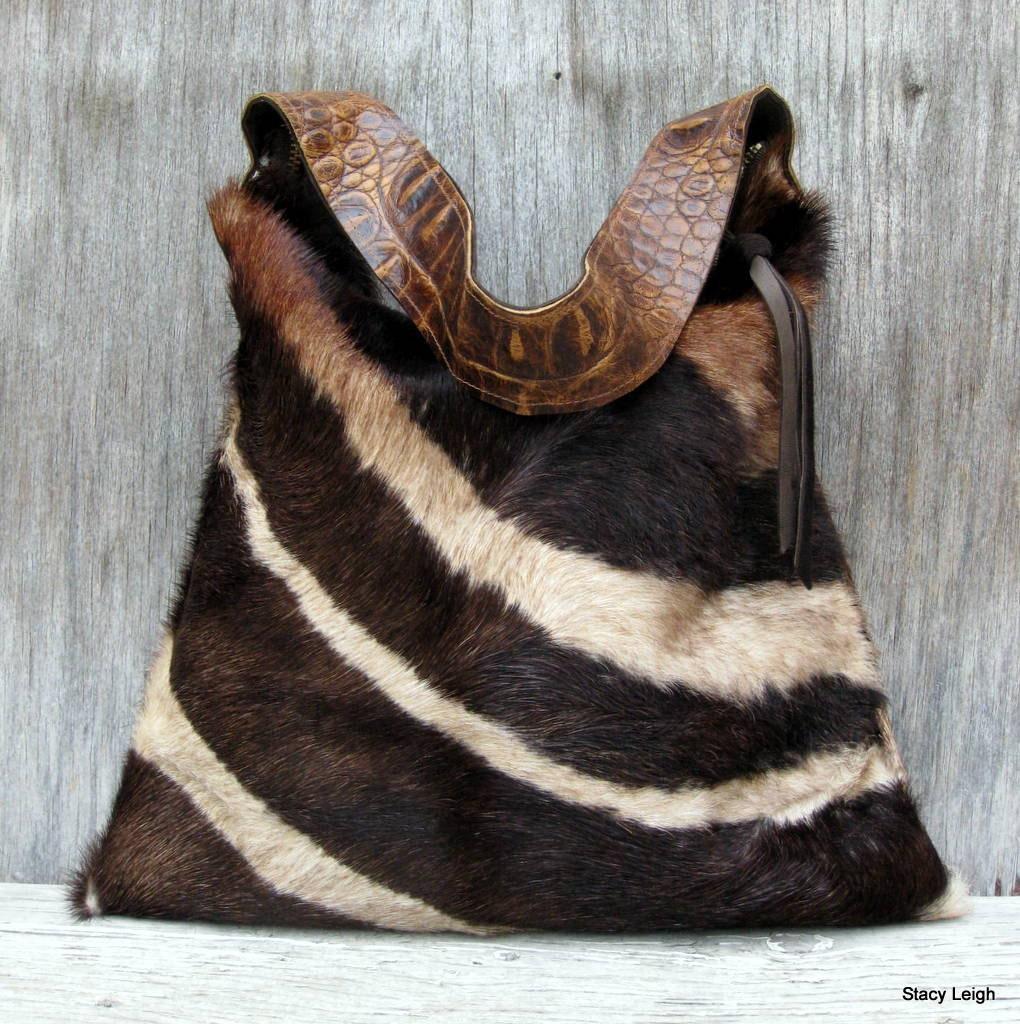 Hair On Cowhide Purse In Brown Zebra Print Super Soft Fur By