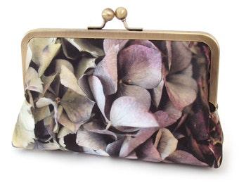 Clutch bag, silk purse, flower petals, wedding purse, bridesmaid gift, HYDRANGEA