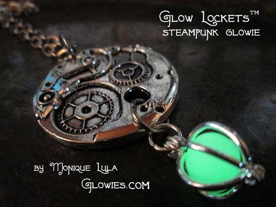 Steampunk Gears Glow Orb Locket Glowie Pendant Silver