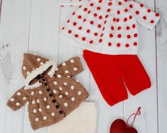 CROCHET PATTERN Baby Hooded Bobble Jacket, trousers  in 2 Sizes PDF 242 Digital Download