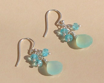 Apatite Earrings, Aqua Blue Chalcedony Earrings, Beach Wedding Jewelry, Small Dangle Earrings