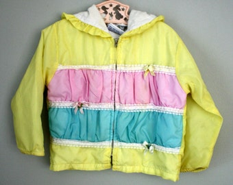 80s Lacy Yellow Windbreaker Jacket Coat Sz 3T 4T