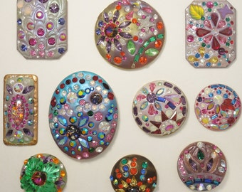 Make Oval Cabochons (5) w/Epoxy Clay and Rhinestones included!