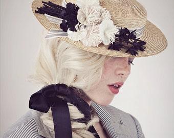 Edwardian Straw Boater Hat