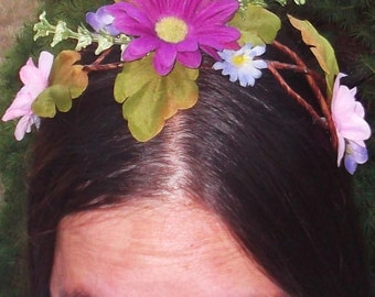 Wedding Handfasting vine head band - Spring Daisy Pink Purple Green White Flowers Adult or child