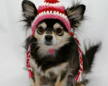 Dog hat crocheted, Valentines Day Red, White, and Pink wool, Xsmall, Small, Medium
