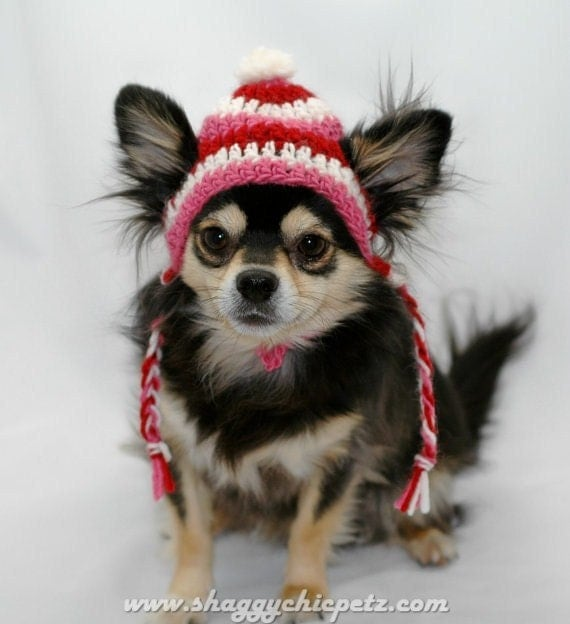 Dog Hat, Valentines Day, Red, White, and Pink wool, Xsmall, Small, Medium