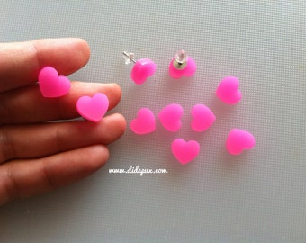 HEART stud earrings HOT PINK