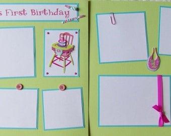Premade 12x12 Scrapbook Pages -- BABY'S FIRST BIRTHDAY -- GiRL layout - 1st birthday, baby girl album, first year album, 1st milestones
