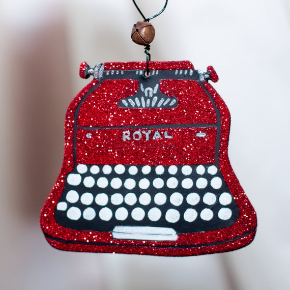 Red Vintage Typewriter Clay Folk Art Ornament