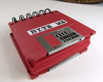 Byte Me Floppy Disk Recycled Blank Mini Notebook in Red JUMBO 125 RED Pages