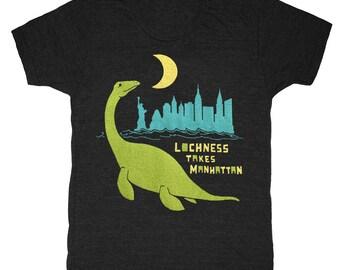 SALE Loch Ness Takes Manhattan - Unisex Mens T-shirt Retro SciFi Tee Shirt Awesome Funny Lochness Monster Creature NY Dinosaur DinoTshirt