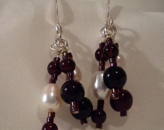Chocolate Cherry Glass Bead and Freshwater Pearl Earrings