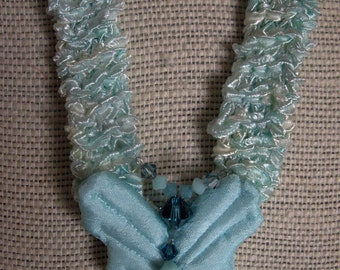 Handknit ribbon yarn necklace with fabric/Swarovski crystal butterfly focal accent