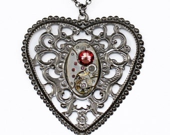 Steampunk Gothic Antiqued Silver Gunmetal Filigree Heart Necklace with Vintage Watch and Antique Pink Swarovski Crystal by Velvet Mechanism