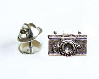 Camera Tie Tack, Camera Tie Pin, Camera Lapel Pin, Accessory Gift for Groom Man Father Dad Groomsman