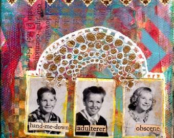 Mixed Media Collage Art Original SHADOW PLAY I  4x4 Mixed Media Canvas