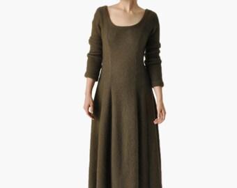 SALE - Vintage Olive Knit Maxi Dress
