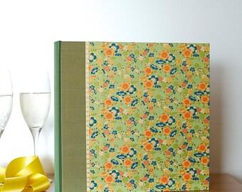 Wedding Album Vintage Green Flowers-,Gift,Scrapbook,Art Journal,Personalized Album