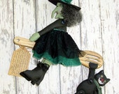 CF185 Primitive Kitchen Witch -  Primitive Kitchen Witch Cloth Raggedy Doll and Black Cat Sewing PDF ePattern