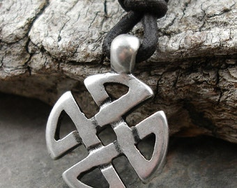 Mens Leather Necklace - Pewter Celtic Knot Pendant, Brown Cord