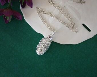 Silver Pinecone Necklace, Sterling Silver, Real PineCones, Silver Pine Cones, PC42