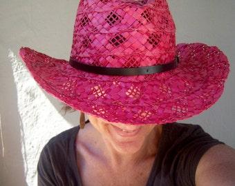 Filippo Catarzi straw cowboy hat / Italian RED woven cowgirl hat / boho beach hat / womens xsmall small