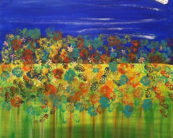 FREE SHIPPING U.S. 18x18 Original Abstract Garden Landscape Painting by Raphaella Vaisseau Acrylic on Canvas Gallery Wrapped Heartful Art