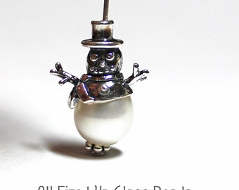Snowman Bead Cap or Charm Sterling Silver Made in the USA