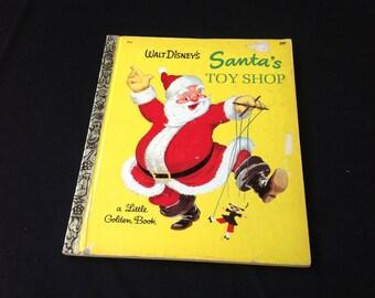 "Vintage 1969 Walt Disney's Little Golden Book ""Santa's Toy Shop"""