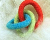 FREE US Shipping--Domestic Wool Felt GNOT Teether--Beach Ball Colors
