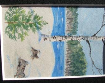 "Small matted Birch in Winter original acrylic 3"" x 4.5"""