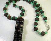 1960s Easter Island TIKI Pendant on Lava Rock Beads w Turquoise Glass Accent Spacers, Man or Woman, OOAK by Rachelle Starr