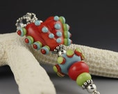 FLYING COLORS heart pendant handmade sterling silver and lampwork by Teri Moore SRA M2
