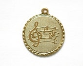 Raw Brass Clef Note Music Charm Drop with Loop (1) chr190KK