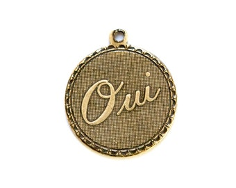 Brass Ox Oui Yes  Word Charm Drop with Loop (1) chr195CC