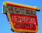Old Neon Signs Motel Gift Shop Retro signage New Mexico red yellow green 8x10 or 11x14 Photography