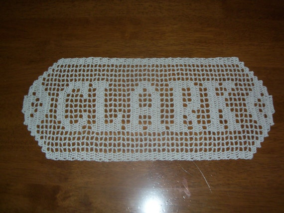 Filet Crochet Name Doily Up to 8 Letters