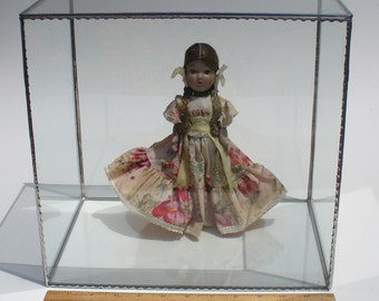 Glass Display Case - 12 length x 8 width x 12 height for Doll Collection or for Exhibiting Precious Keepsakes