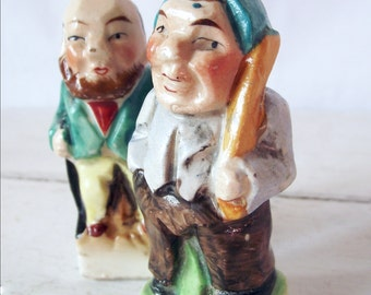 Vintage Figural Salt and Pepper Shakers - Old Men - Made in Japan - Bisque - Hand Painted