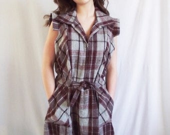 Vintage Jumper Dress - Plaid Wool Blend - JC Penney - Size Small - Medium
