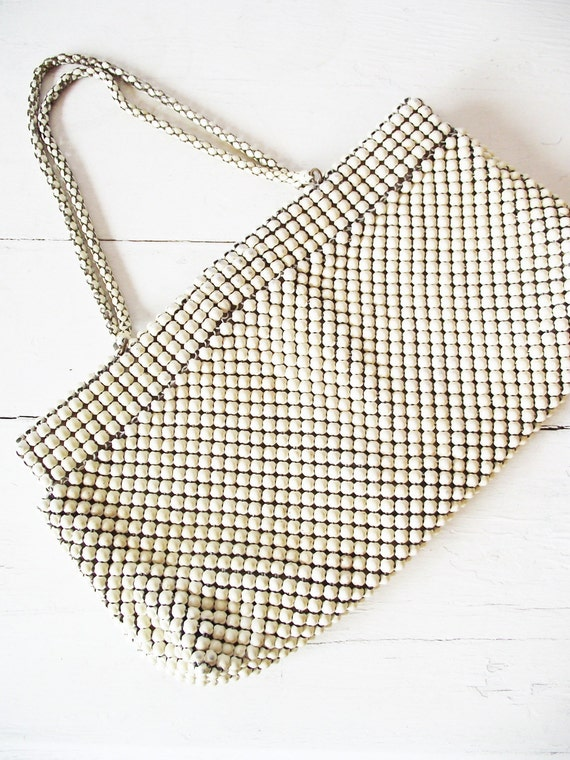 Vintage Whiting and Davis Metal Handbag -White 1950s Metal Mesh Purse