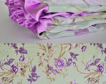 NEW MINKY BLANKET / Sage and Lavender Floral satin /  Lilac Minky swirls and ruffled trim / Elegant modern and unique baby shower gift