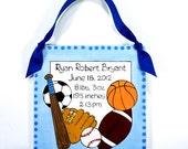 Personalized Birth Announcement Plaque - Sports Design